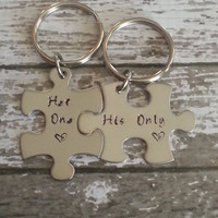 Her One Love, His Only Love - Hand stamped puzzle piece keychain set - Couples,Wedding, Anniversary Keychain