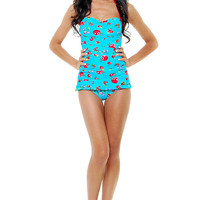 Vintage Inspired 50's Style Pin Up Blue Cherry Print Bathing Suit - Unique Vintage - Prom dresses, retro dresses, retro swimsuits.