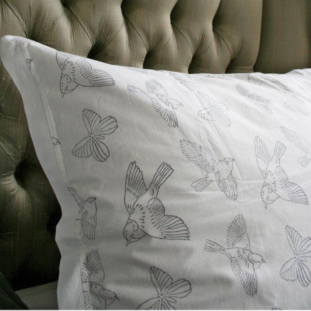 Charcoal Swallow Print Bedlinen
