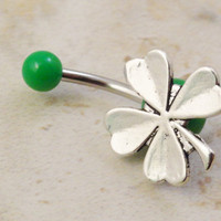 Four Leaf Clover Belly Button Ring Jewelry