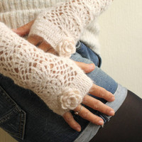 Winter Accessories Cream Crochet Lace Fingerless by warmandsoft