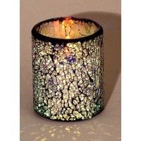 "LED Mosaic Flameless Candle, Cracked Glass Pattern, 3""D x 4""H"