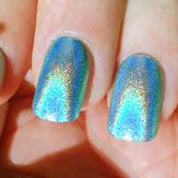Glue On Nails Holographic Green
