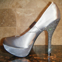 Swarovski Crystal  Satin Silver Platform Shoes  by UniqueHeelz