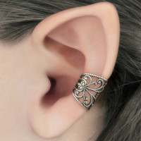 Soft Whispers Silver Filigree Ear Cuff by RavynEdge on Etsy