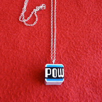 Super Mario &#x27;POW Block&#x27; pendant necklace by DeardenDesign on Etsy