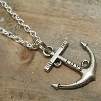 Silver Anchor Necklace - Anchor Charm Necklace - Anchor Pendant
