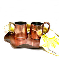 Vintage Copper Tray and Mugs 1950s 1970s Eclectic Collecion