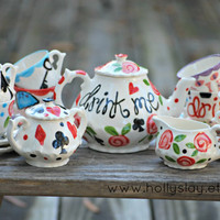 Alice in Wonderland Mad Hatter Tea Party . . . Personalized Tea Set and 4 Matching Tea Cups