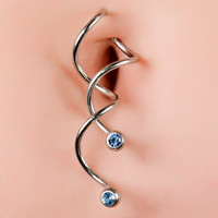 FreshTrends  Super Spiral Twisted Dangle Belly Button Ring w/ Light Blue CZ Gems