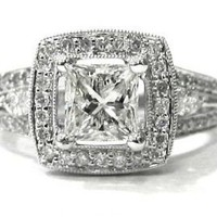 Princess and round diamond engagement ring 18k 186ctw by KNRINC
