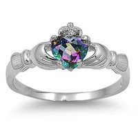 Silver Claddagh Ring - Rainbow Topaz CZ - Sizes 5 6 7 8 9