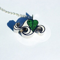 Leaf In the Wind Necklace - soar, float, dancing in the wind, leaves, foliage, windy, blowing, breezy