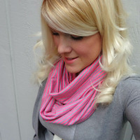 Infinity scarf - pink and heather grey stripe - loop scarf - boho - feminine