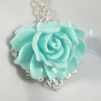 Big Blue Flower Necklace, Romantic Jewelry | Luulla