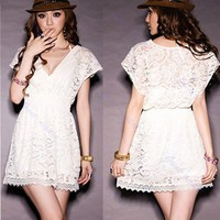 New Fashion Women Deep V-neck Lace Short Sleeve Tunic Tops Mini Dress White