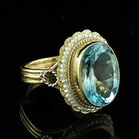 Oval Blue Topaz Victorian Ring 14K Yellow Gold