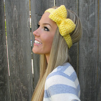 Soft Sunshine Yellow Bow Headband with Natural Vegan Coconut Shell Buttons - Adjustable