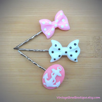 Anchor and bow bobby pins - set of three - kawaii - feminine