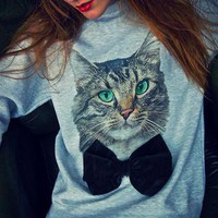Cat Dark Green Velvet Bow Gray Jumper NOW ON SALE RRP £38 from Alice-takes-a-trip