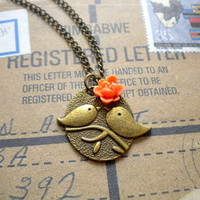 Kissing Couple Pendant - Bird Necklace - Orange Flower Necklace | Luulla
