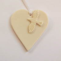 Handmade Porcelain Ceramic Hanging Heart Decoration - Dove - Great Wedding Gift