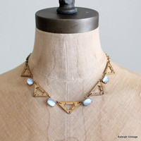 Vintage 1930s Necklace : Art Deco Blue Glass Necklace