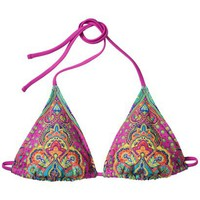 Xhilaration® Junior's Triangle Swim Top w/ Beading -Multicolored Print