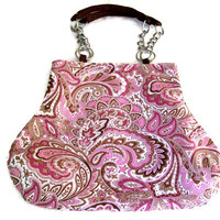 Pink Brown Paisley Fat Bottom Bag Purse