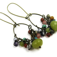 Boho Earrings Brass Multicolor Stone Beads by LeafAndTendril