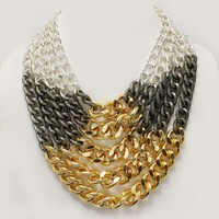 Tri-Color Statement Layered Chain Link Necklace