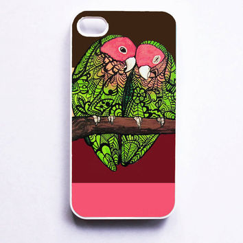 iPhone 4 Case  Love Birds Zentangle Art etsyxo by MayhemHere