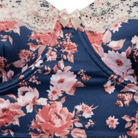 New Look Mobile | Navy Floral Longline Bra