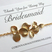 Triple orchid Bracelet, Silver Gold, Bridesmaid gift, Maid of honor gift, mother of the bride gift, sister, daughter, beach wedding jewelry