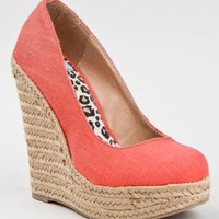 Delicious GLOW Platform Wedge Heel Slip On Round Toe Esapadrille Sandal