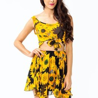 cut-out-chiffon-sunflower-dress YELLOWBLK - GoJane.com