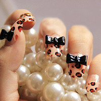 Black Bow Tie Leopard 24 Nail Tips Animal Print cute 3D Pre Designed trendy nail