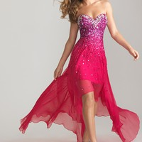 Night Moves 6632 Fuchsia Hi-Low Dress