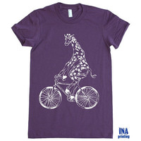 BIKE with GIRAFFE  American Apparel Womens Tshirt by Inaprinting