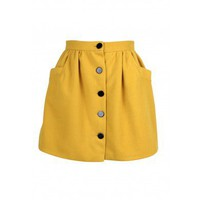 Pocket Sideway High Waist Skirt (Yellow)