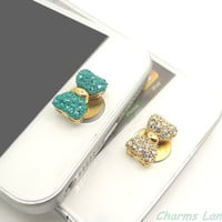 1PC Bling Bow Rhinestone Jewelry Apple iPhone Home Button Sticker for iPhone 4,4s,4g, 5 & iPad, iPhone Charm