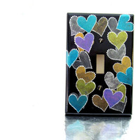 Switchplate Black with Metallic Hearts Switch Plate Cover Hand Painted