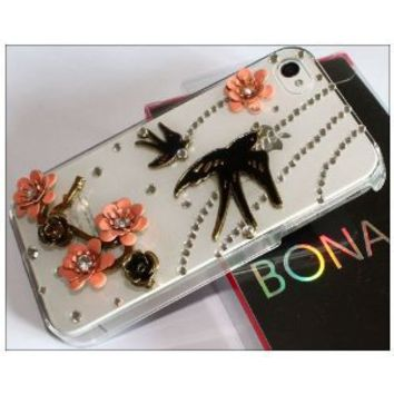 Premium Bling Luxurious Luxury 3D Swallow Spring Design Diamond Rhinestone Clear Crystal Hard Back Case for Apple iPhone 4S 4 / BONA retail Packing