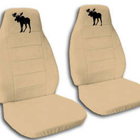 CUTE SET OF TAN CAR SEAT COVERS with moose design