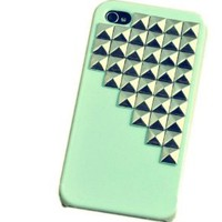 Fashion Punk Spikes and Studs Mobile Phone Case for iPhone 5 Cover with Green Pyramid Rivet