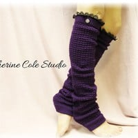 PURPLE Dancer ballerina yoga EXTRA LONG leg warmers womens popcorn texture, lace buttons by Catherine Cole Studio legwarmers