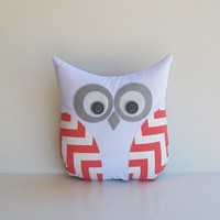coral chevron owl, decorative coral white grey zig zag decorative pillow, coral grey chevron nursery, Easter gift by whimsysweetwhimsy