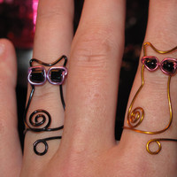 Wire Wrapped Cat Wearing Sunglasses MADE to ORDER by 1ofAkinds