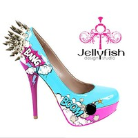 Hand painted BANG spiked comic Heels