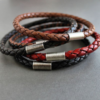 $99.00 Three Braided Leather Stacking Bangle Bracelets by LynnToddDesigns